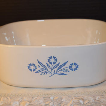 Corning Ware Cornflower Blue Dutch Oven Casserole 4 Quart Vintage Corningware Cornflower Large Handled Casserole Mid Century Glass Cookware
