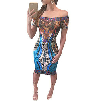 Feitong Women Sexy Off Shoulder Dress Fashion African Print Dashiki Bodycon Short Sleeve Party Mini Dress vestidos femininos