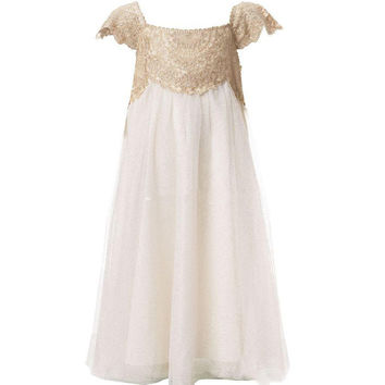 2016 Ivory Flower Girl Dresses Scoop Neck Floor Length Appliques Lace Kids Wedding Party Gowns Communion Dresses Hot Sale