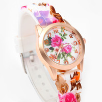 Pink and Purple Floral Printed Watch