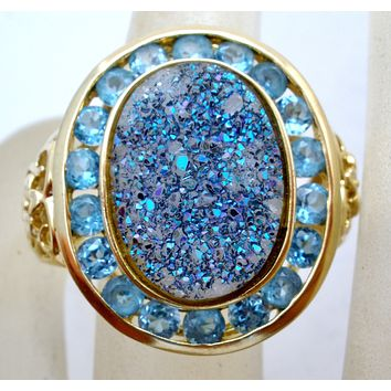 14K Gold Blue Topaz Druzy Ring Size 8