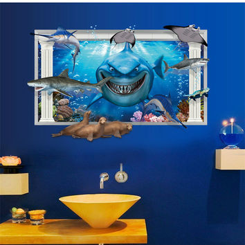 Wall stickers 3 d sharks false window children room of household adornment wall stickers on the wall SM6