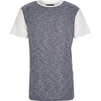 River Island MensWhite block color ribbed front t-shirt