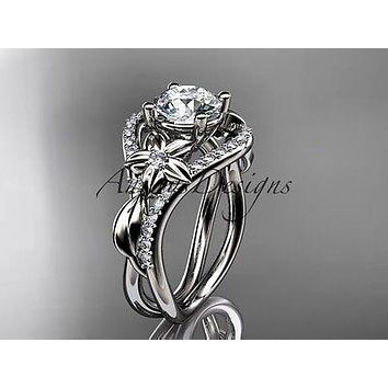 Unique platinum diamond wedding ring, engagement ring One Moissanite ADLR244