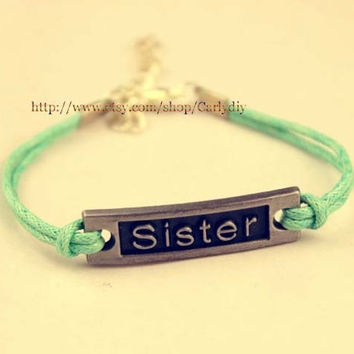 Sisters gifts-- -- - mint green bracelet sisters bracelet - the best gift of friendship