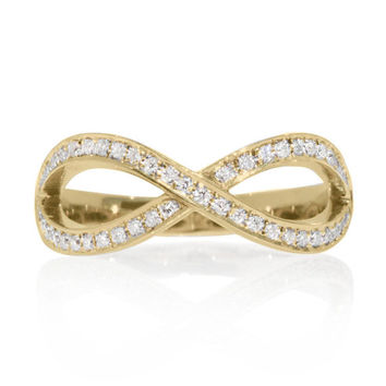 Diamond Wedding Ring, Infinity Ring Gold, 0.3 CT Diamond Wedding Band, Infinity Knot Ring, Womens Wedding Bands, Unique Rings