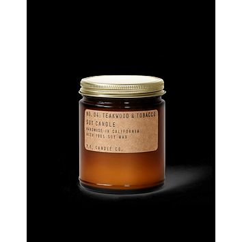 P.F. CANDLE CO. STANDARD SOY CANDLE- NO.04: TEAKWOOD & TOBACCO