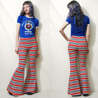 STRIPED Bells Flares 70s Vintage Fabric Bell Bottoms Flared Pants Red White Blue Bohemian Hippie Handmade ooak XS S
