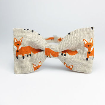 Pre Tied Bow Tie by BartekDesign: linen beige fox triangle animal hipster fun informal gift for him wedding