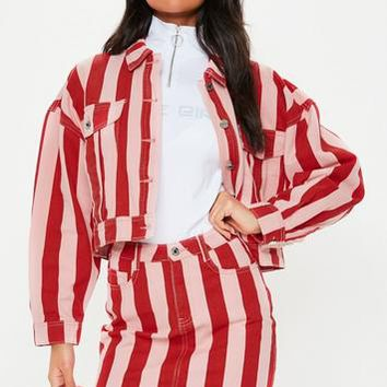 Missguided - Pink Stripe Rigid Co Ord Denim Mini Skirt