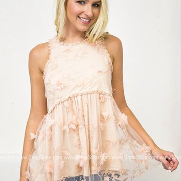 3D Sparkling Lace Babydoll Top