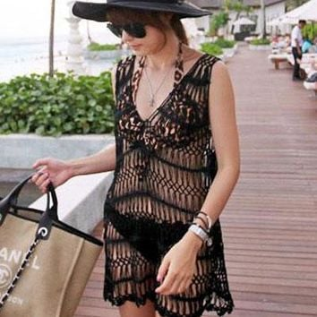 Black Sexy Cool V Neck Knitted Beach Cover-up