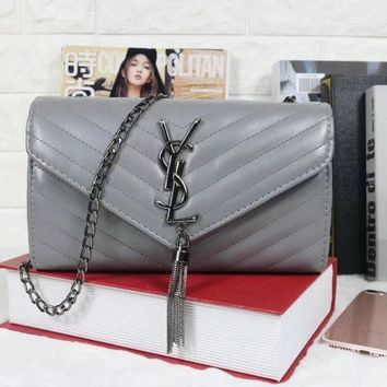 One-nice™ YSL Tassell Women Shopping Leather Metal Chain Crossbody Satchel Shoulder Bag Grey I-MYJSY-BB