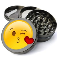 Emoji Blowing Kisses Extra Large 4 Chamber Cheap Grinder With Mesh Screen
