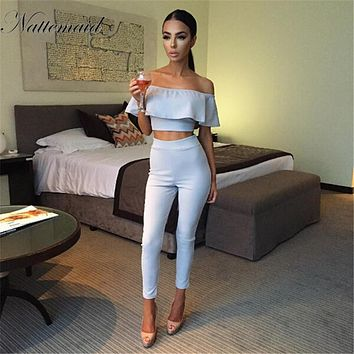 NATTEMAID Summer Women pants Long pencil pants high waist 2 peice women sets bodycon Feml High waist Pants Capris Slim Trousers