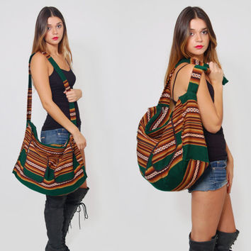 Vintage 80s Ethnic WEEKENDER Oversized Tribal Print Striped Duffle Bag Hippie Boho Cotton Tote Bag