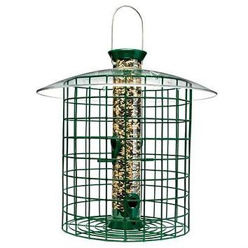 Wild Bird Feeder with Domed Cage in Green