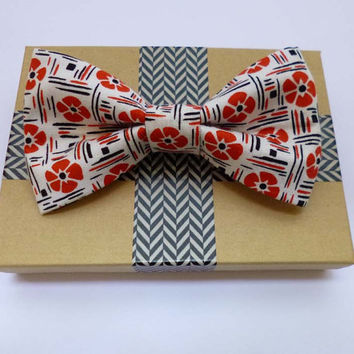 Hawaiian Bow Tie Clip On - Mens, Childrens, Womens Sizes - White with Hibiscus Print Clip On Bow Tie