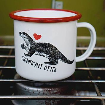 Significant Otter Enamel Mug in White and Red