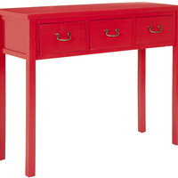 Cindy Console With Storage Drawers Hot Red