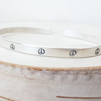 Peace Sign Silver Hand Stamped Cuff Bracelet, Peace Symbol Cuff Bracelet, Bangle Bracelet, Stacking Cuff, Metalwork,  Gift for Her