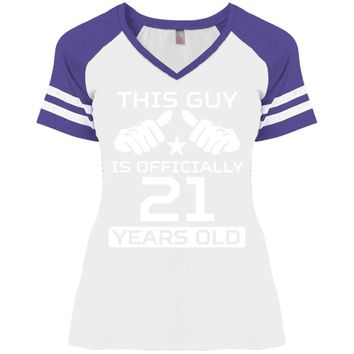 This Guy Is Officially 21 Years Funny 21st Birthday DM476 Disctrict Ladies' Game V-Neck T-Shirt