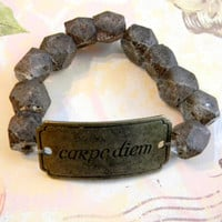 "Inspirational ""CARPE DIEM"" Beaded Stretch Bracelet with Glass Java Beads"