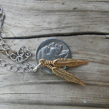 Buffalo nickel coin necklace. Indian head coin with feather charms.