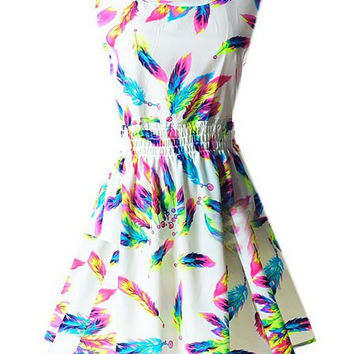 White Feather Print Elastic Waist Midi Dress