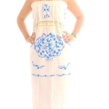 Maria Isabel  Handmade Embroidered Mexican  Wedding  Pure Cotton Dress