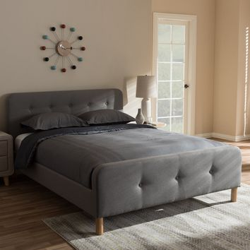 Baxton Studio Samson Mid-Century Light Grey Fabric Upholstered Queen Size Platform Bed Set of 1