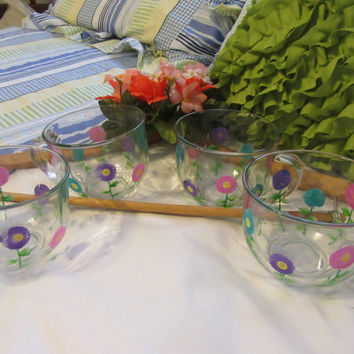 Hand Painted Clear Glass Spring Flower Coffee or Soup Mugs - Set of 4 - Pink, Aqua, and Purple Flowers
