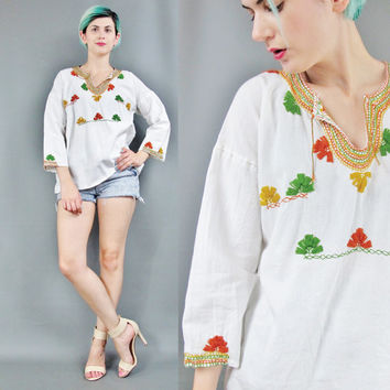 60s 70s Peasant Blouse Hippie Boho Floral Embroidered Blouse White Cotton Peasant Shirt Long Sleeve Gauze Cotton Tunic Festival Top (S/M)