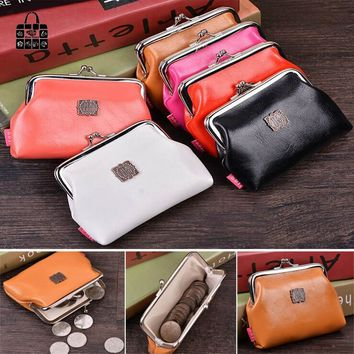 RoseDiary Women Cute pure color Coin Purse PU Leather Small Clutch Wristlet Wallet Girls Change Pocket Pouch Hasp Bag Keys Case