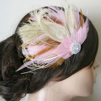 Wedding Feather Hair Accessories, Feather Fascinator, Bridal, Hair Accessory, 1920s, Peacock, Pink,Ivory, Tan                      Hair Clip
