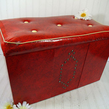 Retro Red & Ivory Vinyl Storage Hassock Coffee Table -  Vintage Padded Cushion Ottoman - Nursery Blanket Chest / Bench - Mid Century Toy Box