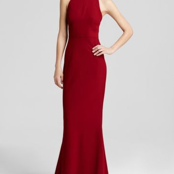 Jill Jill Stuart Gown - High Neck Crepe Open Back | Bloomingdales's