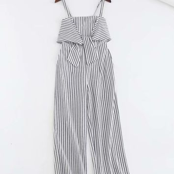 Hot style striped front knot back elastic shoulder strap adjustable straight Onesuit