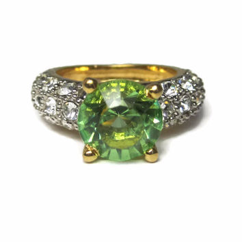 Vintage 18k GP Green Peridot Costume Ring Size 6