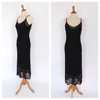 Vintage 1990s MINIMALIST Crochet Lace Maxi Dress Black Gauzy Rayon Dress Size Small Petite Boho Grunge Summer Tank SunDress Gown