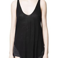 Black Scoop Neck Modal Vest