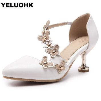 Big Size Pointed Toe Flower Low Heel Women Shoes Fashion Wedding Shoes Women Pumps 2018 Sexy High Heels