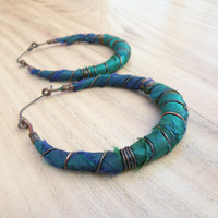 Silk Road Gypsy Hoop Earrings, Large, Eclectic, Copper, Blue and Green, Silk Wrapped