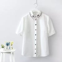 White Floral Embroidered Peter Pan Collar Short-Sleeve Blouse