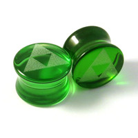 "Triforce Green Glass Plugs 2g (6mm) 0g (8mm) 00g (9mm) (10mm) 7/16"" (11mm) 1/2""(13mm) 9/16""(14mm) 5/8""(16mm) Tri Force Ear Gauges"