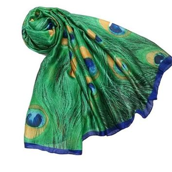 [16089] Green Peacock Feather Print Scarf