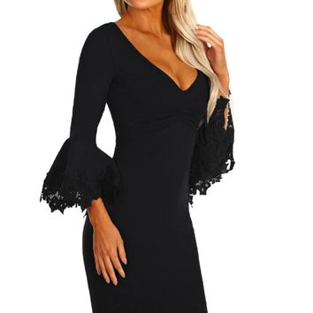 Z| Chicloth Black Crochet Frill Sleeve Midi Dress