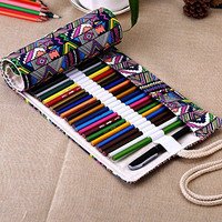 Forsun Canvas Pencil Wrap, Pencils Roll Case Hold For 72 Colored Pencils (Pencils are not included)-Bohemian Stlye