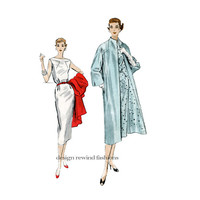 1950s VOGUE 843 COAT & DRESS Pattern Sleeveless OnePiece Cocktail Dress Day Dress Vogue Couturier Design Bust 30 Womens Sewing Patterns