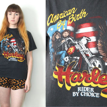 Vintage 80s Americana // Harley Davidson Graphic T Shirt // American By Birth Rider By Choice Tee // Size XS / Extra Small / Small / Medium